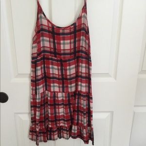 NWOT plaid adjustable spaghetti strap dress